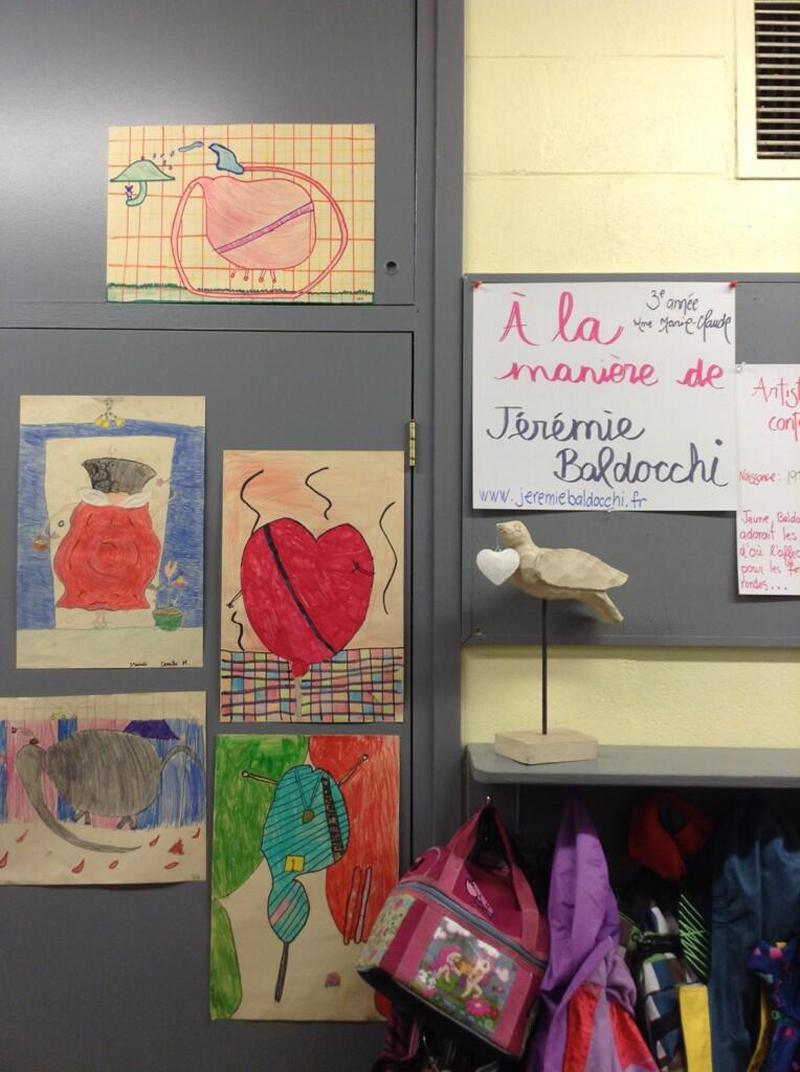 Dessins élèves classe enfant inspiration peinture contemporaine Jeremie Baldocchi
