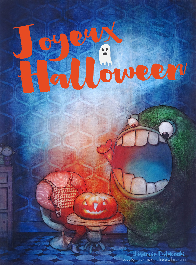 Carte Halloween artiste peintre contemporain