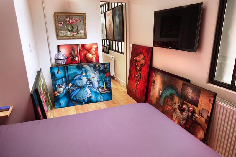 Photo de mes peintures aux Portes Ouvertes de mon atelier en Juin 2018