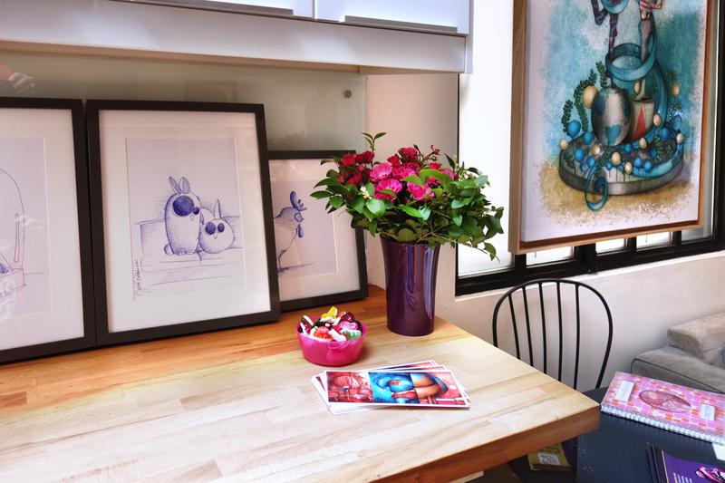 Photo de mes peintures aux Portes Ouvertes de mon atelier en Juin 2017