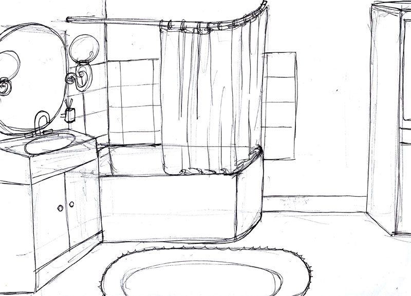 dessin de salle de bain. Black Bedroom Furniture Sets. Home Design Ideas