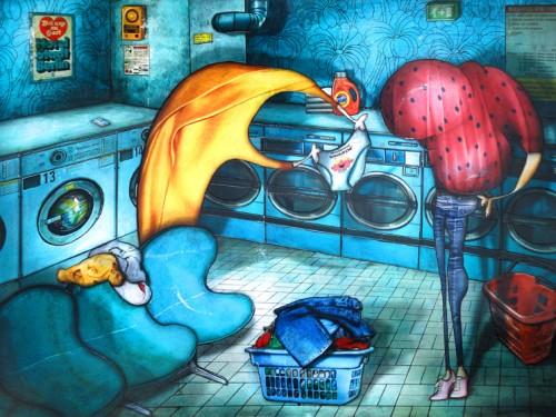 Peinture: Bavardage à la laverie
