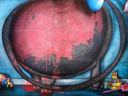 Peinture: Éléphant peint en rose