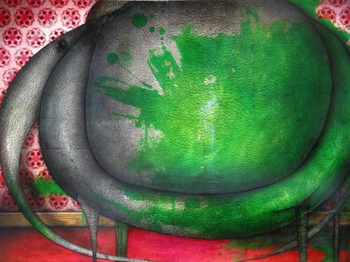 Peinture: Éléphant peint en vert