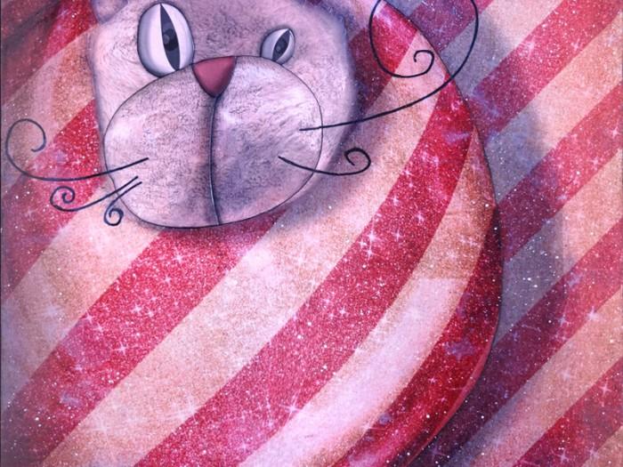 Peinture: Chat emballé