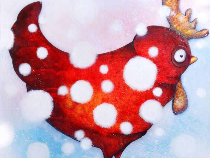 Peinture: Poule enneigée