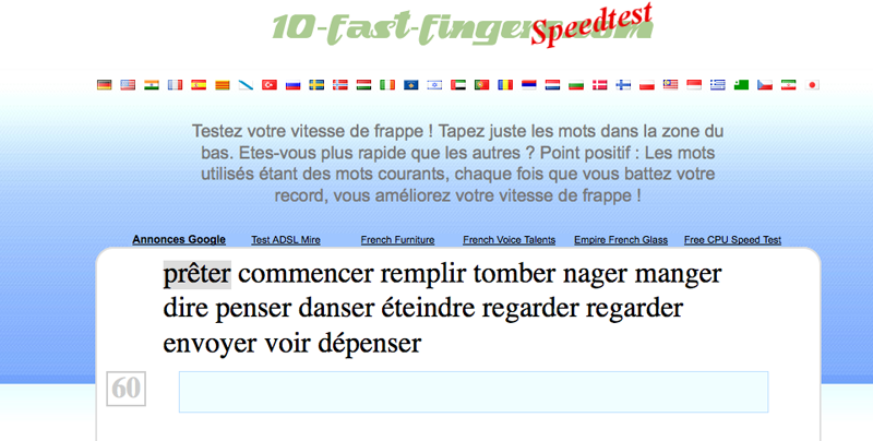 Test: 10 fast fingers