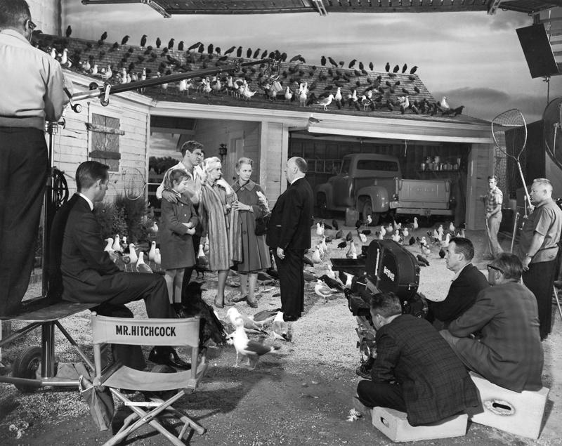 Photo de tournage du film Les oiseaux d'Alfred Hitchcock