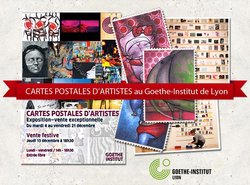 Exposition de cartes postales d'artistes au Goethe Institut de Lyon