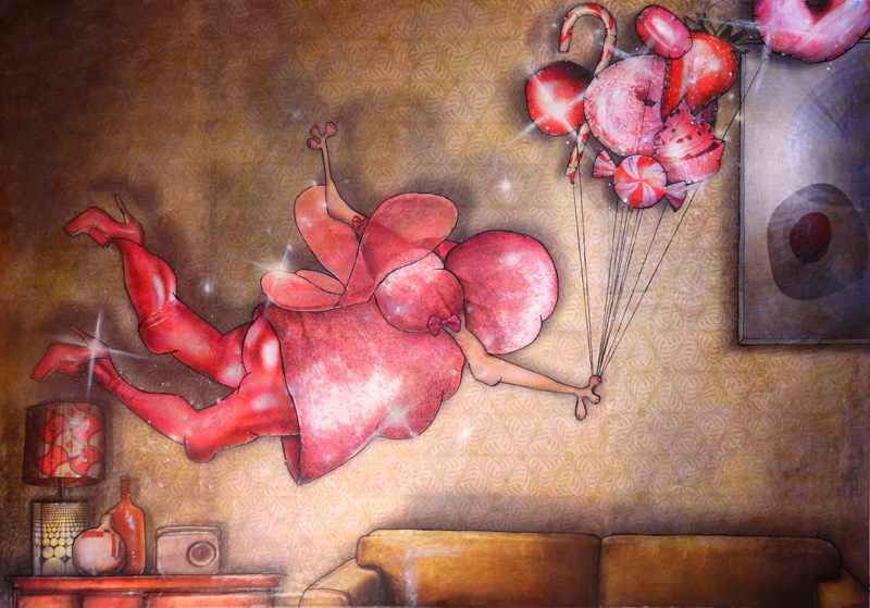 Peinture contemporaine et figurative La fée gâterie