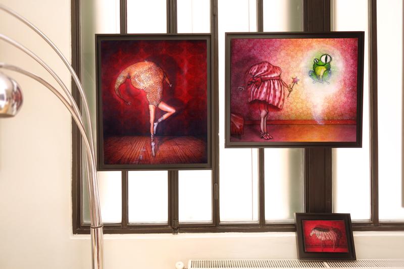 Photo de mes peintures aux Portes Ouvertes de mon atelier en Juin 2016