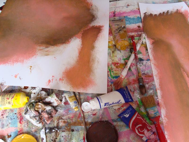 Croquis pour la peinture Adam et Eve