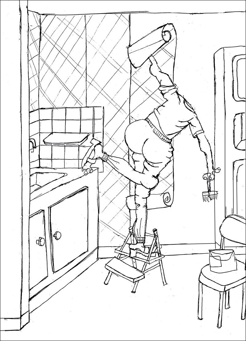 Croquis pour la peinture Ne pas avoir le bras assez long