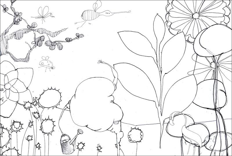 Croquis pour la peinture Une promenade dans son jardin