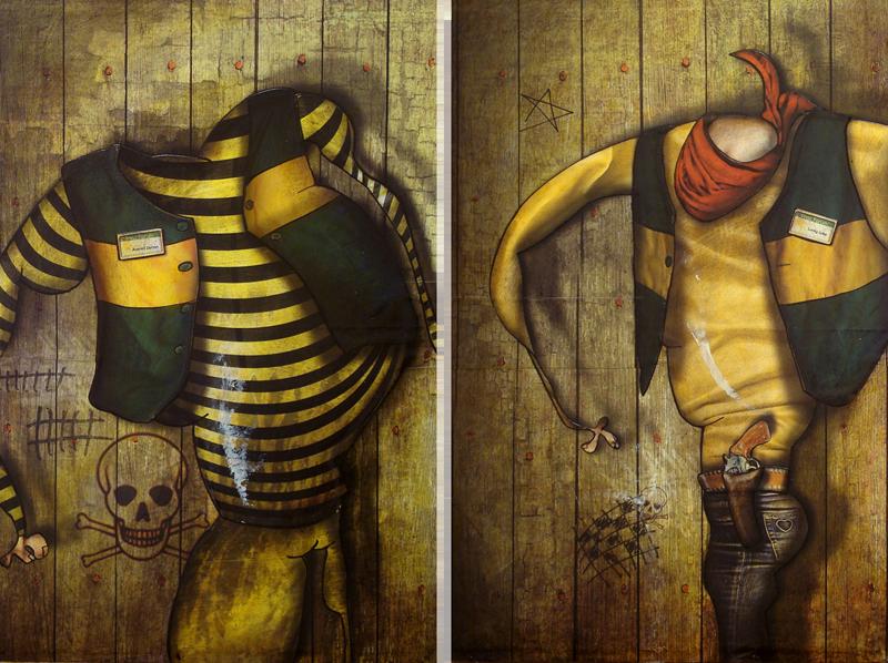 Peinture Averell Dalton et Lucky Luke