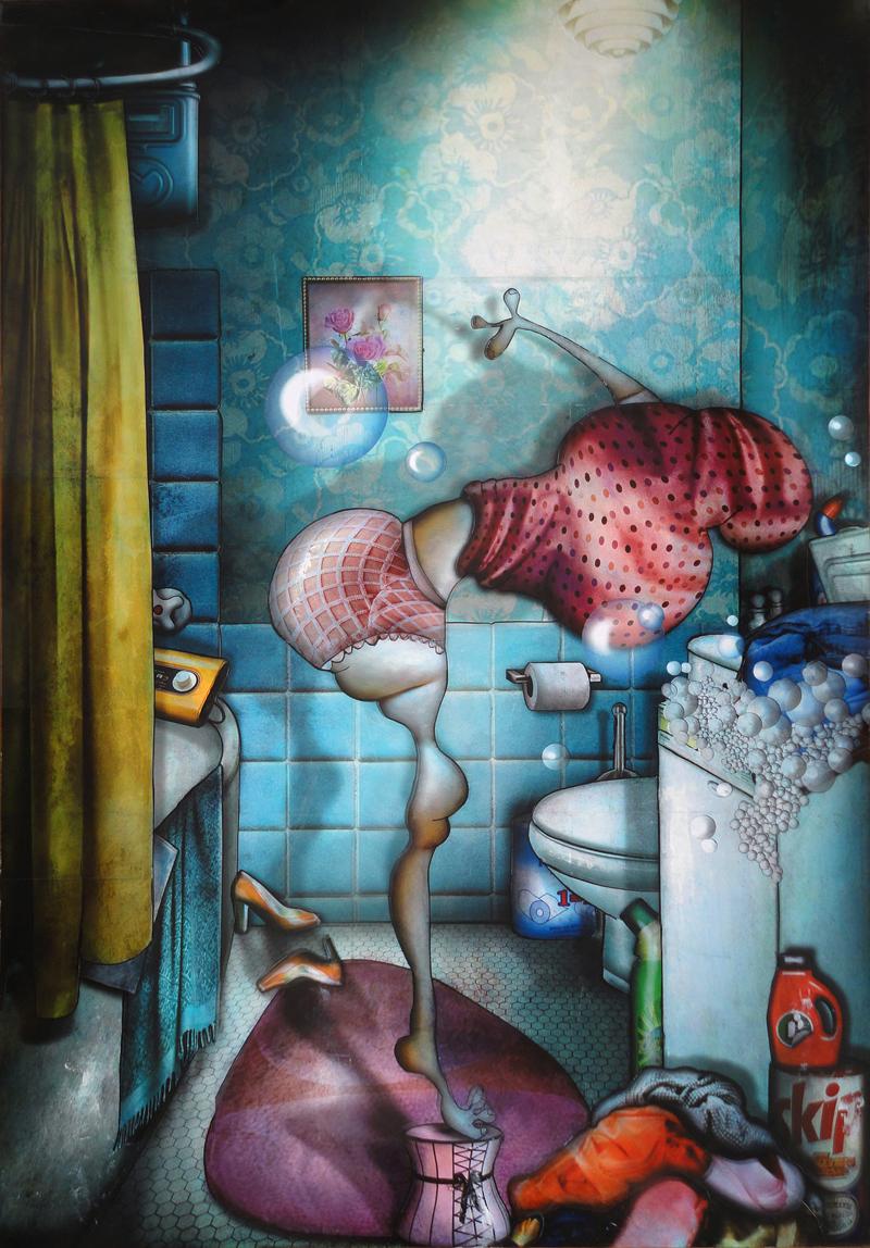 Peinture Jeudi c'est le jour des lessives