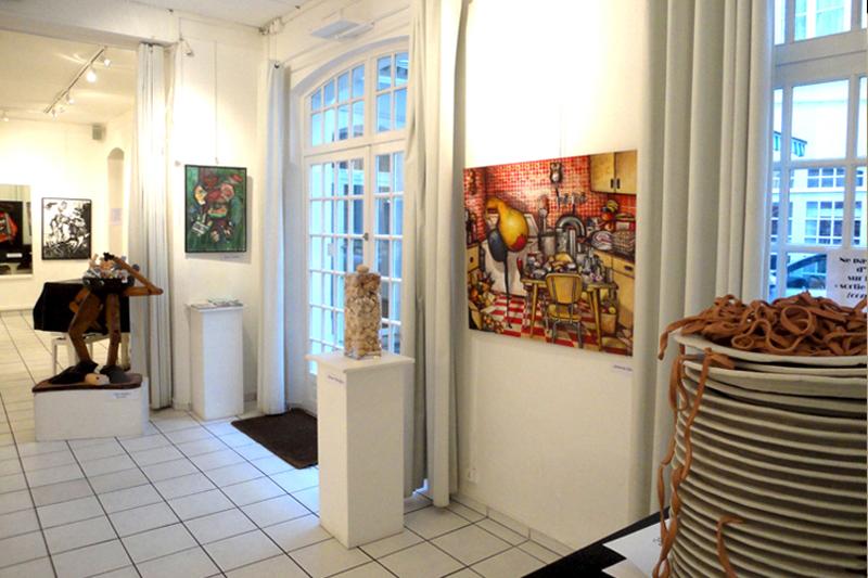 Peinture Chat de Soirée à la galerie de l'Atelier Z à Paris en Mars 2011