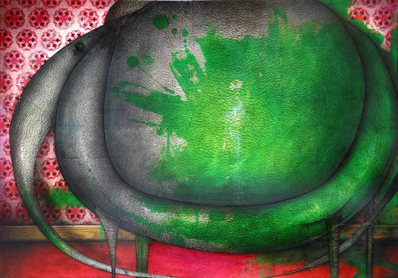 Peinture Éléphant peint en vert