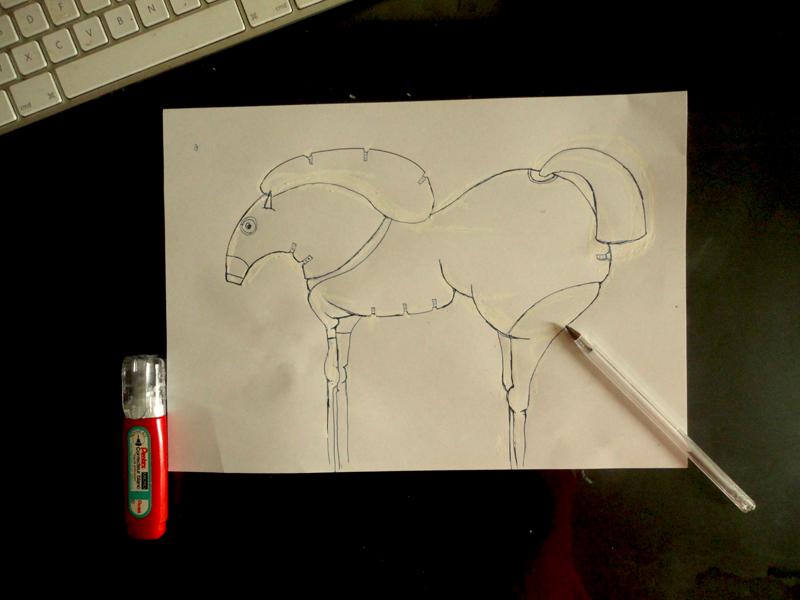 Croquis pour la peinture Cheval de Soirée