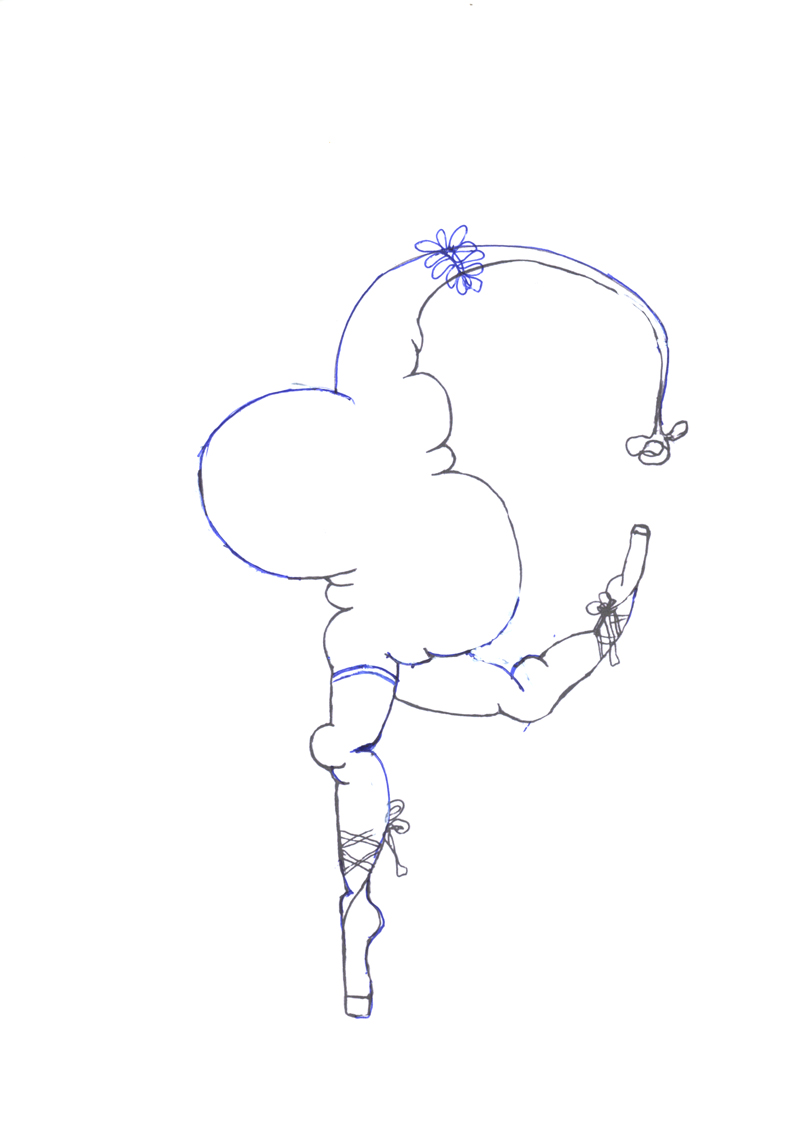 Croquis pour la peinture Gymnaste Chinoise