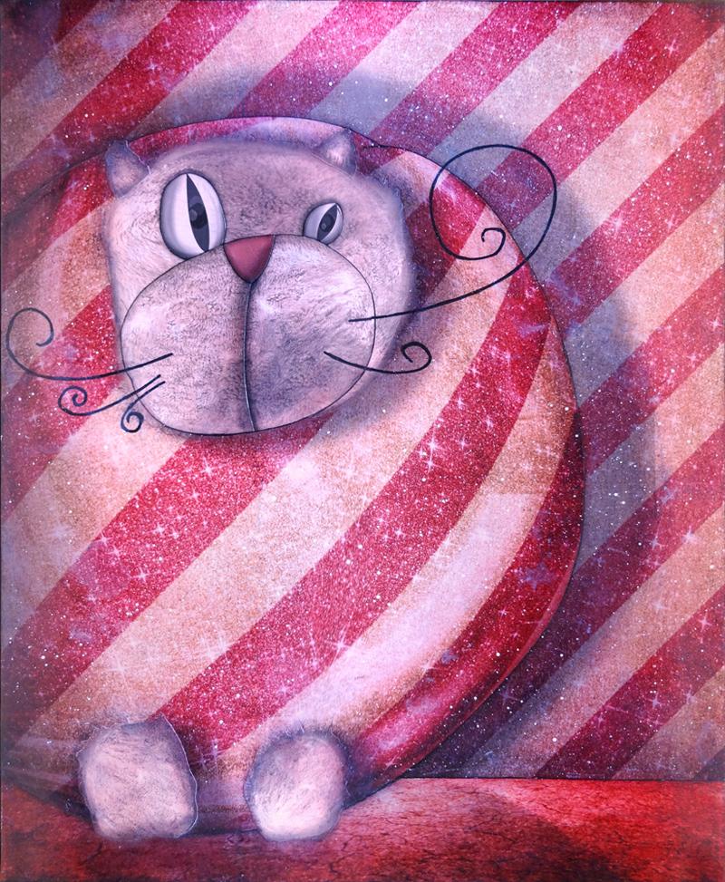Peinture Chat emballé