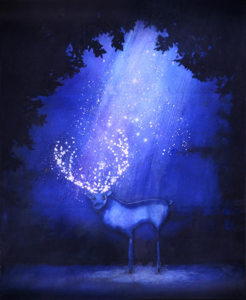 Peinture Cerf de nuit