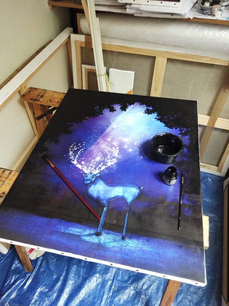 Peinture Cerf de nuit en cours de réalisation