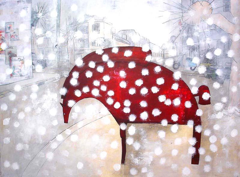 Peinture Cheval rouge créée en 2002