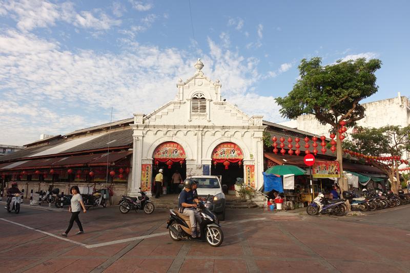 Marché couvert rue Lebuh Campbell à George Town sur l'île de Penang en Malaisie