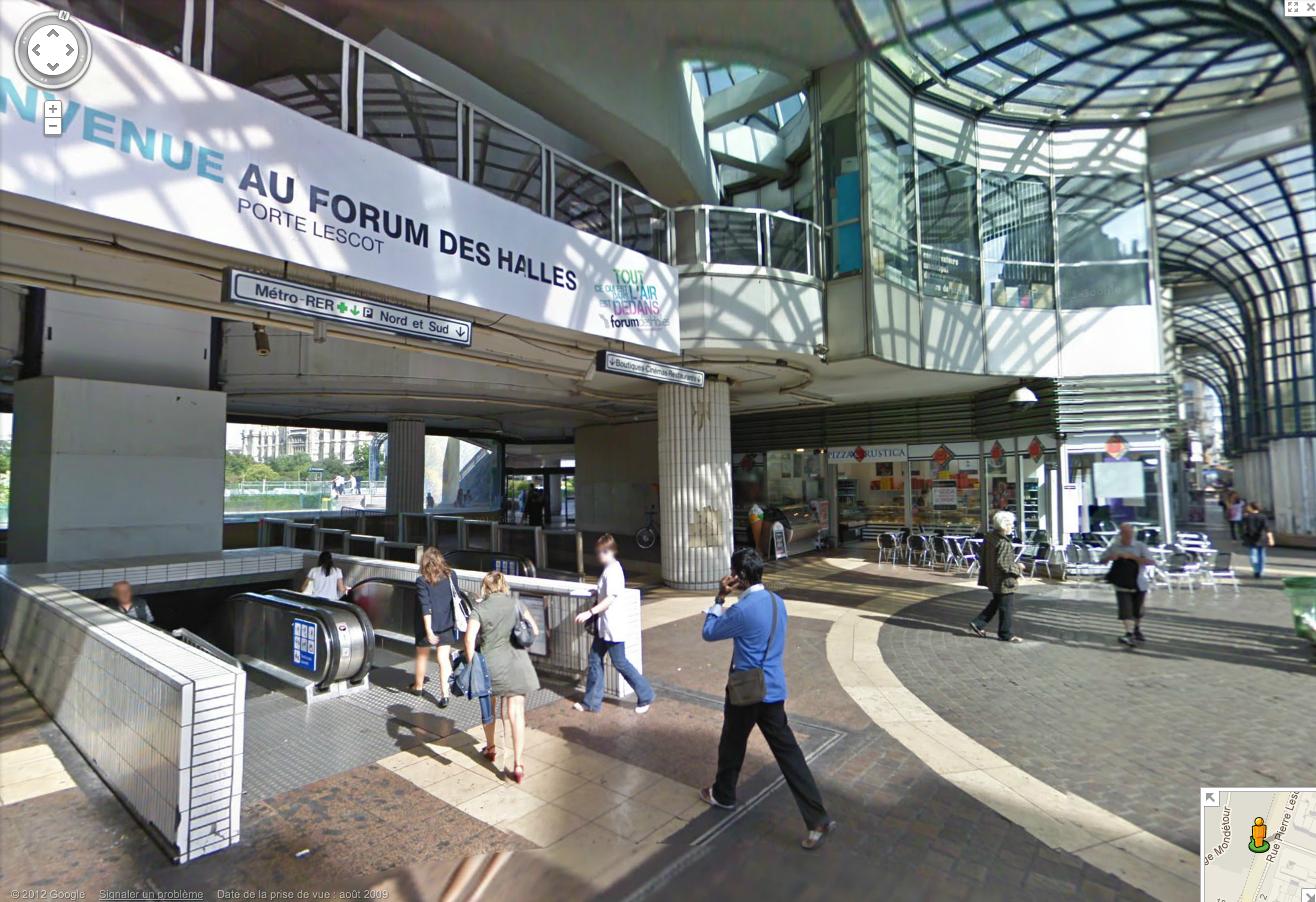 L'ancien Forum des Halles dans Google Map